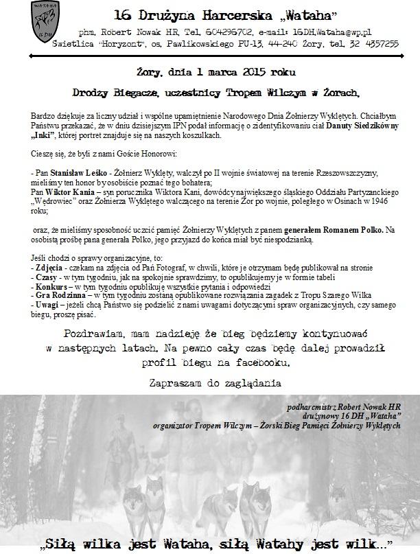 Tropem Wilczym Bieg Pamieci Zolnierzy Wykletych, Żory, 2015, odezwa