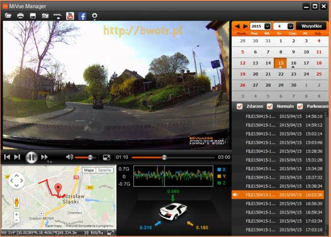 Mivue manager, kamera samochodowa mio Mivue 568 Touch, test