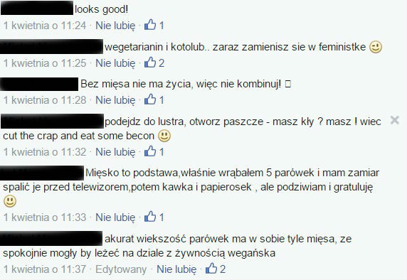 komentarze na moim FB po informacji o przejściu na wegetarianizm
