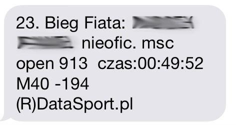 SMS z wynikiem biegu