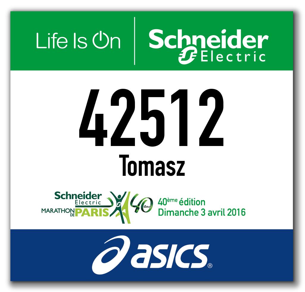 numer startowy Paris Marathon