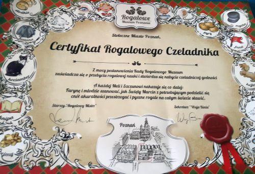 Certyfikat Rogalowego Czeladnika z Rogalowego Muzeum Poznania