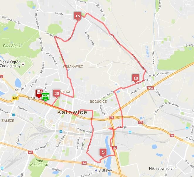 mapa PKO Silesia półmaraton
