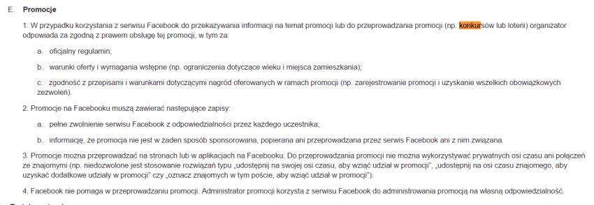 Regulamin organizacji konkursów na Facebooku