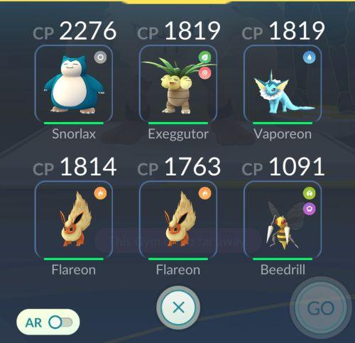 Atak grupa Pokemonow w Pokemon GO