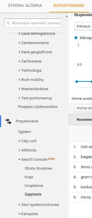 gdzie znaleźć pytania z wyszukiwarki w analityce Google