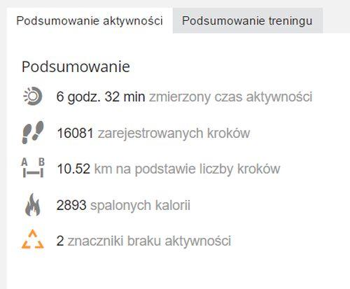 Liczba kroków przed WFL Poznań2016