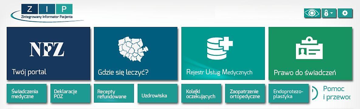 nagłówek systemu Zintegrowany Informator Pacjenta