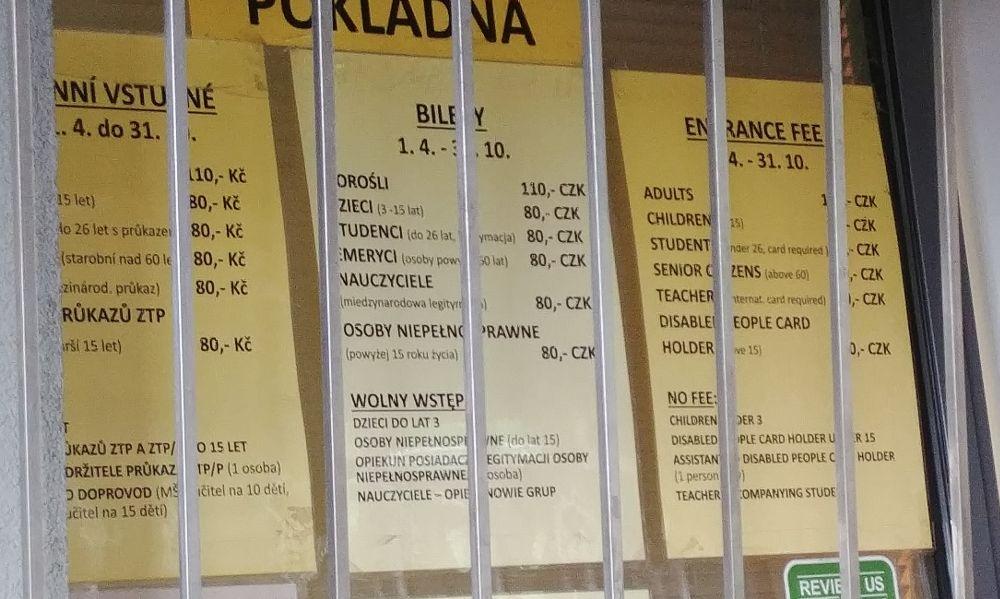 cennik w trzech językach ZOO Ostrava