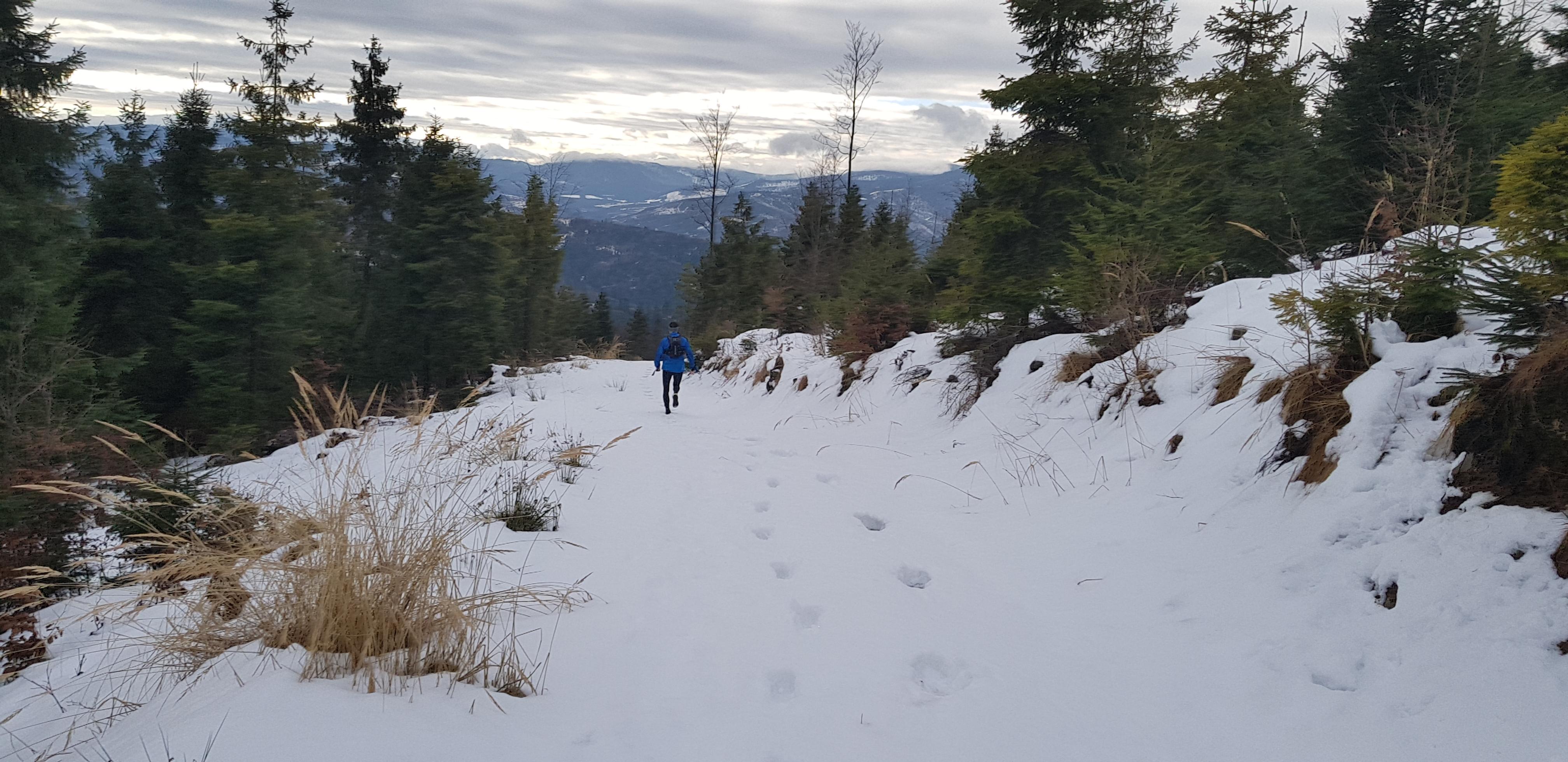 bieganie w zimie trasa w śniegu