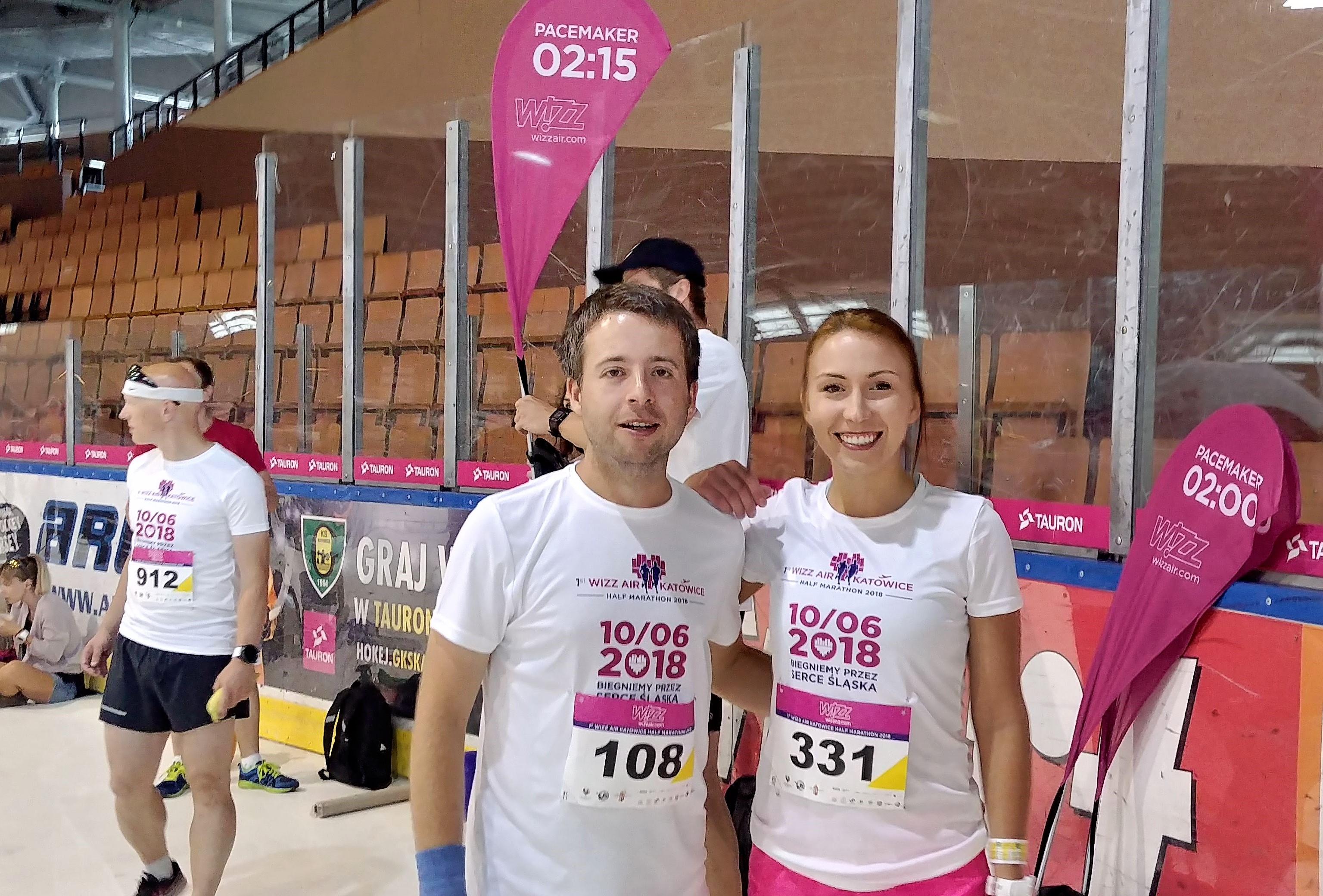 Karolina i Marek pacemakerzy na 1:45 Wizz air Katowice Half Marathon