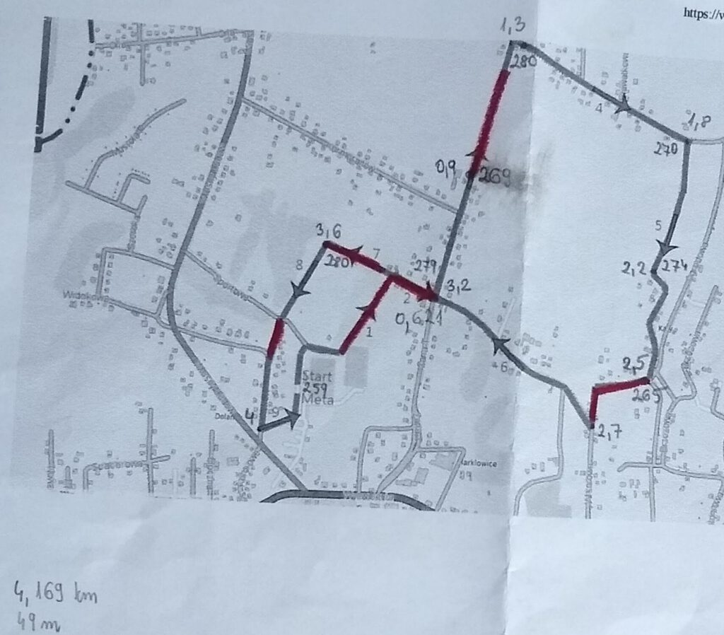 mapa biegu ulicznego w Marklowicach